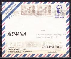 Luftpost, MiF Dario U.a., Bandstempel-Fehler Kopfstehende Uhrzeit, Buenos Aires Nach Duesseldorf 1966 (50302) - Argentinien