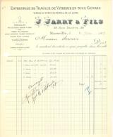 Facture Marseille 1907 Jarry & Fils Rue Sainte - Travaux De Vitrerie - France