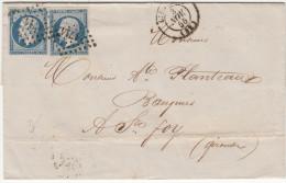 LIBOURNE (Gironde) 2x 20c Empire Non Dentelé (bleu De Paris)  Sur Lettre Du 23 Novembre 1855 - 1849-1876: Classic Period
