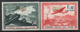 France 1941, Courrier Officiel Et Spécial Par Avion,  Yv. 2 + 3, MH * - See 2 Scans - Guerres