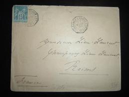 LETTRE TP SAGE 15C OBL.HEXAGONALE 30 MARS 00  LUANGO A BORDEAUX L.L. N°2 - Postmark Collection (Covers)