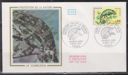 = Protection De La Nature, Caméléon, La Réunion Paris 6 Nov 1971 Enveloppe 1er Jour N°1692 - Reptiles & Amphibians