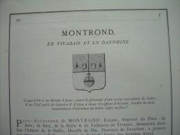 Document  1867 GENEALOGIE .. 8 Pages BLASON HIERALDIQUE..de MONTROND, En VIVARAIS Et DAUPHINE - Documents Historiques
