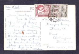 USED 1956 ? MOSHI Tanzania POSTMARK + 2 STAMPS RP Kenya, British East Africa BEA MOUNTAIN MOUNT KILIMANJARO No.12 USED - Tanzanie