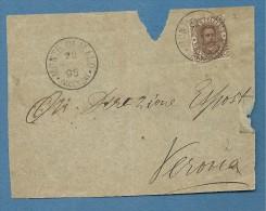 1895 MONTE DI MALO (VICENZA)  SU 40 C. - FRONTE LETTERA PER VERONA - Marcophilia