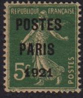 Semeuse 5c Vert - Poste Paris 1921 - Préoblitéré - N°26 - Préoblitérés