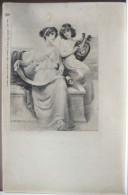 Chromo Illustrateur Herbert HORWITZ Tuck 86 Mot A La Poste Duo Femme Grec Parchemin Lyre Voyagé 1903 Timbre Creil - Tuck, Raphael