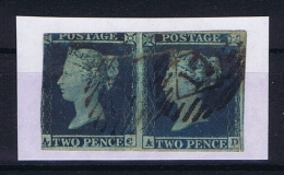Great Britain SG  14   Yv Nr 4, Used Pair  Watermark Inverted  CV UKP 1700 Small Tear At Right Side (see Reverse Scan)