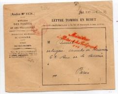 """1885 - ENVELOPPE """"LETTRE TOMBEE EN REBUT"""" Avec CACHET ROUGE """"MINISTRE DES POSTES ET DES TELEGRAPHES"""" - Postmark Collection (Covers)"""