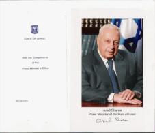 ISRAEL PHOTO DU PREMIER MINISTRE RECEMMENT DECEDE ARIEL SHARON (FAC SIMILE) PROVENANT DU BUREAU DU PREMIER MINISTRE - Historical Documents