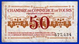 BON - BILLET - MONNAIE - CHAMBRE DE COMMERCE DE TOURS 37 INDRE ET LOIRE 50 CENTIMES DU 27 DECEMBRE 1920 N° 577.434 - Camera Di Commercio