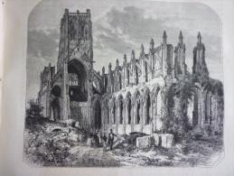 Ruines De L'abbaye De Saint Bertin A Saint Omer , Gravure D'aprés Dessin Thérond D'aprés Ulysse Delhom 1856  Avec Texte - Documents Historiques