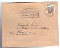 N° 1331A Spectaculaire Picage à Cheval Sur Lettre D'Annecy Oblitéré Du 8/11/1965. Voir Le Scan. - Curiosities: 1960-69 Covers & Documents