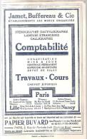 Buvard Jamet, Buffereu & Cie Ets Les Mieux Organisés Sténo, Dactylo, Calligraph Provenant D´un Almanach Hachette De 1911 - Buvards, Protège-cahiers Illustrés