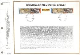 1993 PREMIER JOUR CEF BICENTENAIRE DU MUSEE DU LOUVRE - FDC