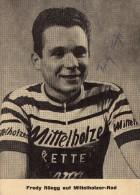Cyclisme Thème Coureurs Cyclistes Sprinters Tour De France Fredy Rûegg Carte Dédicacée Autographe Giro Vuelta - Cycling