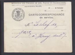 BELGIQUE - 1891 - MINISTERE DES CHEMINS DE FER - CARTE-CORRESPONDANCE DE SERVICE  - - Briefe & Fragmente