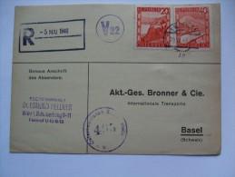 AUSTRIA 1948 CENSOR POSTCARD FROM WIEN TO BASEL SCHWEIZ WITH V22 CACHET - 1945-60 Brieven