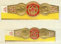 2 Alte Zigarrenbanderolen - Bauchbinden Der  Marke Bremen Brasil - Bagues De Cigares