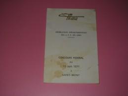 Menu Federation Departementale Des A P P Du Gers Concours Federal  1971 Saint Mont Tursan Madiran Armagnac - Menus
