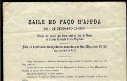 1903 BAILE No PAÇO Da AJUDA. Lista Protocolo. Rei D.Carlos + D.Amelia + D.Maria Pia + Conde Figueira / Galveias, Etc. - Programs