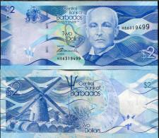 BARBADOS 2 DOLLARS 2013 P NEW DESIGN UNC - Barbados (Barbuda)