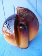 VASE Vintage Ou Art Déco Couleur Marrron Et Caramel, à 3 Ouvertures - Non Firmata