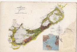 P3234 Bermuda Map Cartes Geographiques  Caribbean Islandsfront/back Image - Bermudes