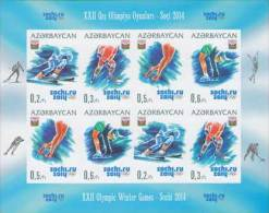 az1028ish Azerbaijan 2014 Winter Olympic Games Sochi imperf m/s Alpine Skiing Ice Hockey Skating Figure Skating