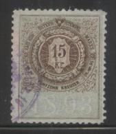 AUSTRIA ALLEGORIES 1893 15KR BROWN & GREEN PERF 10,50 X 10.50 BAREFOOT 386 - Fiscaux