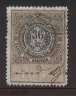 AUSTRIA ALLEGORIES 1879 36KR BLACK & YELLOW PERF 12.25 X 11.50  BAREFOOT 248 - Fiscaux