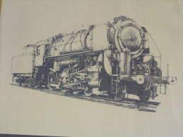 Lithographie Noir Et Blanc De La  Locomotive Vapeur ( Belge ? ) Type 29.184 ( S.N.C.B ?) La Dimension Est De 51 X 51 Cm - Transports