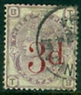 """-GB-1880-""""3 D Overprinted On 3 Penny"""" (o) - Gebraucht"""