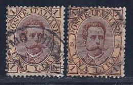 Italy, Scott # 56 & 56a Used Humbert L, 1889, 2 Shades - Used