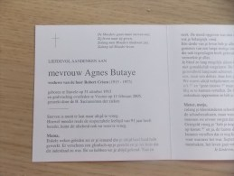 Doodsprentje Agnes Butaye Stavele 31/10/1913 Veurne 11/2/2005 ( Robert Criem) - Religione & Esoterismo