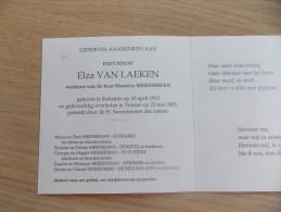 Doodsprentje Elza Van Laeken Koksijde 20/4/1912 Veurne 23/5/2005 ( Maurice Mersseman) - Religione & Esoterismo
