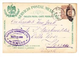 """1897, 3 C. Braun Postbote-GA-Karte Von Mexico Nach Horgen Schweiz - Vs. Blauer Zudruck """"Deutsches Haus Mexico"""" - Mexique"""