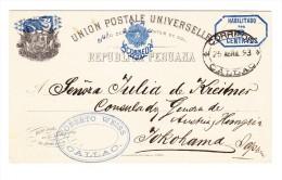 "1884 - Peru Ganzsache 2 Auf 5 C. Oval ""CALLAO 25 ABRIL 93"" Nach Japan Yokohama Gesendet - Pérou"