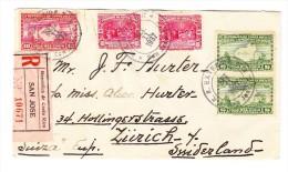 1930/36 R-Brief Von San Jose Nach Zürich Schweiz Mit Diversen Stempeln - Costa Rica