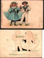 Carte Système à Découpe - Couple De Marins Fille Et Garçon - A Systèmes