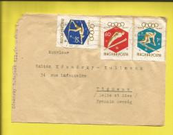 Lettre HONGRIE Affranchie Des Timbres N°s 1353, 1355, 1357 JEUX OLYMPIQUES De SQUAW VALLEY  De  1960 - Marcophilie