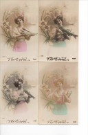 1 Er Avril Femme Poisson Libellule Et Narcisse X 4 (baby 1329) - Femmes