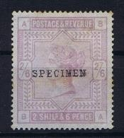 Great Britain SG  178, Specimen Signed, Not Used (*) - 1840-1901 (Viktoria)