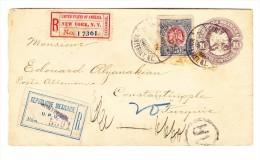 """1899 R-Ganzsache """"Monterrey 23 Jun 1909 Nach Konstantinopel Via New-York - Mexique"""