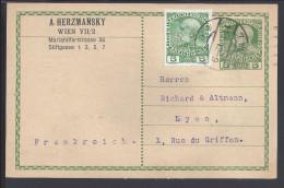 AUTRICHE - 1912 -  CARTE ENTIER POSTAL + COMPLEMENT D'AFFRANCHISSEMENT, DE VIENNE POUR LYON - - Interi Postali