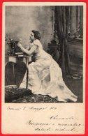 [DC6278] DONNA CON FIORI - ABITO - Viaggiata 1904 - Old Postcard - Femmes