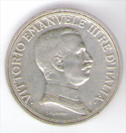 ITALIA 2 LIRE 1914 VITTORIO EMANUELE III AG SILVER - 1861-1946 : Regno