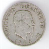 ITALIA 1 LIRA 1863 VITTORIO EMANUELE II AG SILVER - 1861-1946 : Regno