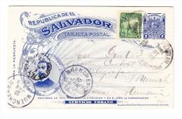 1896 - UPU Doppelkarte Mit 2C Zusatz Mi#155 Von San Salvador Nach München Via New-York - Salvador