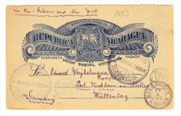 1893 - Nicaragua Ganzsache Karte Von Bluefields Nach Kirchheim Württemberg Via New-York - Nicaragua